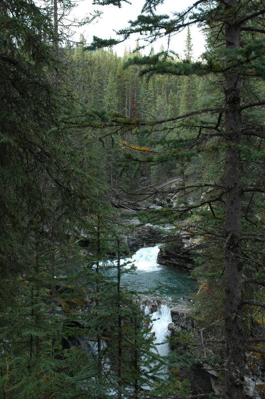 Таёжная река с водопадом в Скалистых горах. - Владимир Смольников