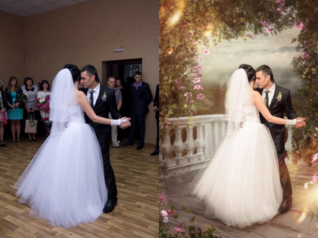 сказочную обработку свадебного фото
