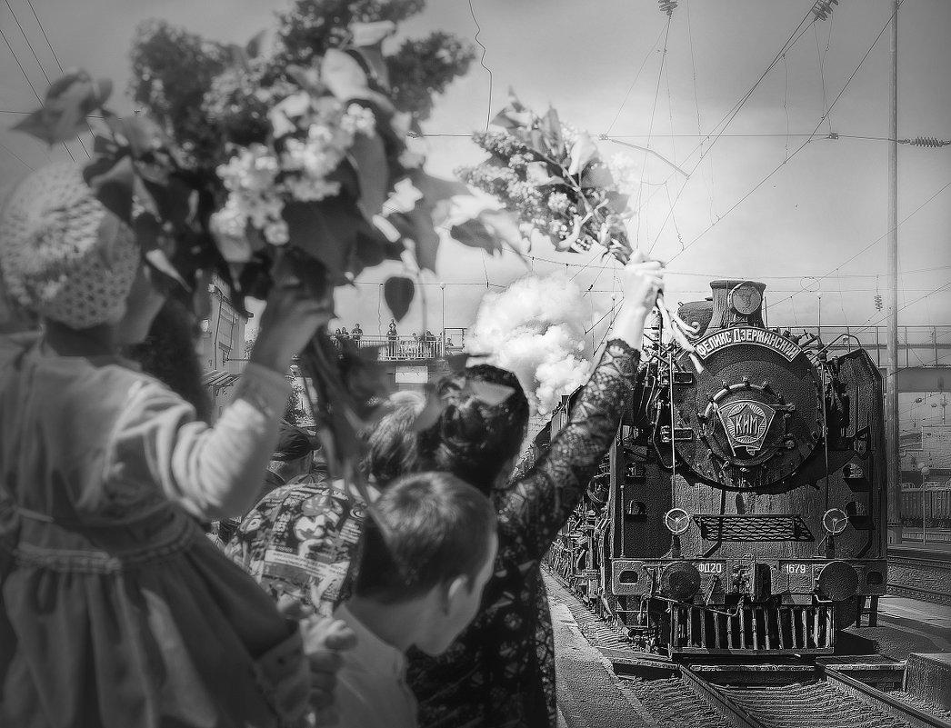 """Ретро - поезд """"Победа"""" прибывает на 1 путь. - Olga Zhukova"""