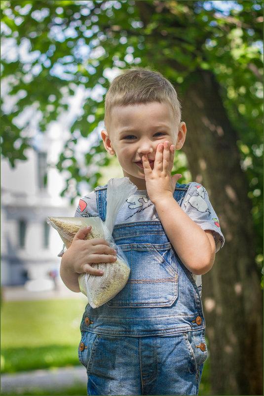 Мальчик идущий кормить голубей - Олег Карташов