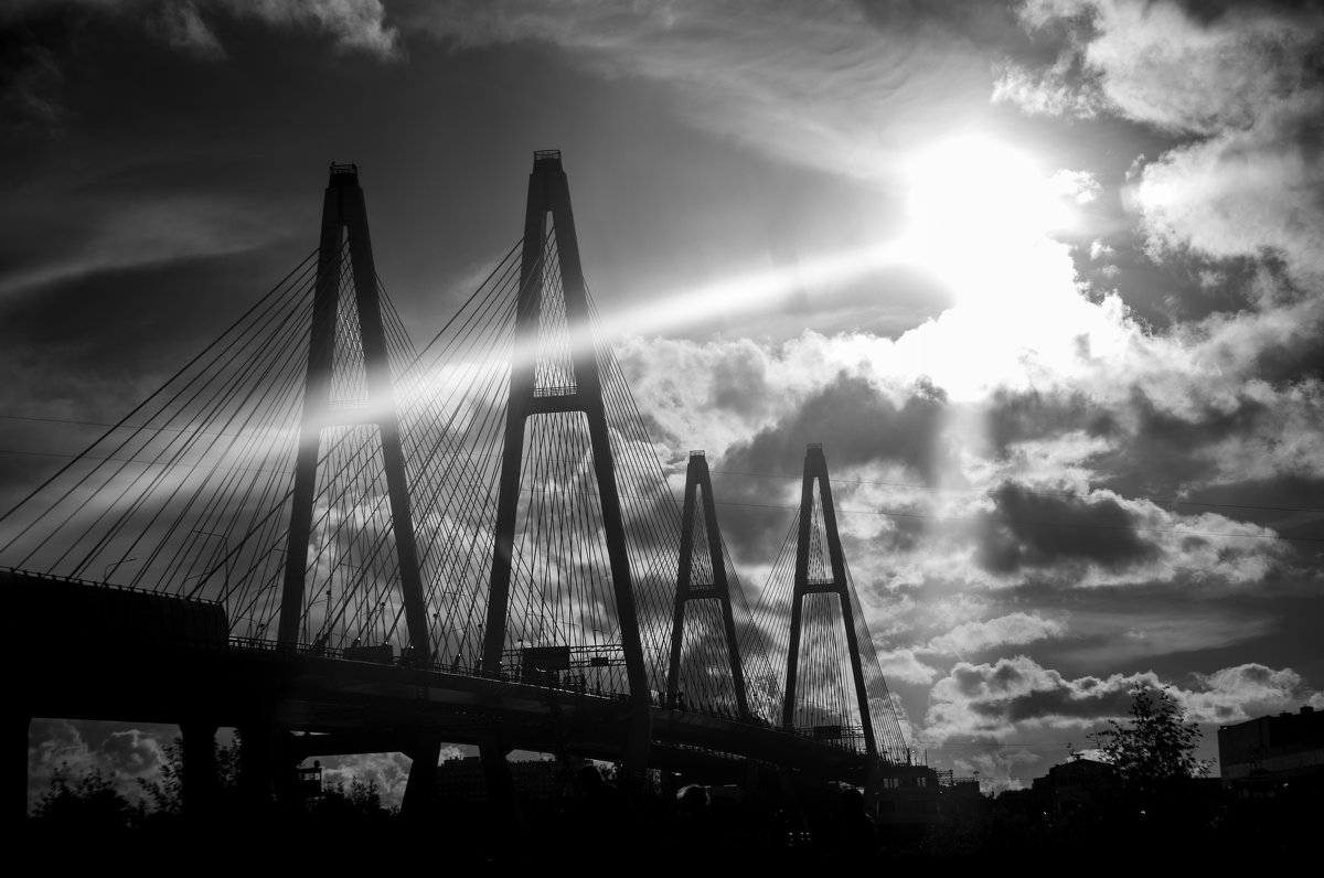 Вантовый мост в лучах солнца. - Светлана Салахетдинова