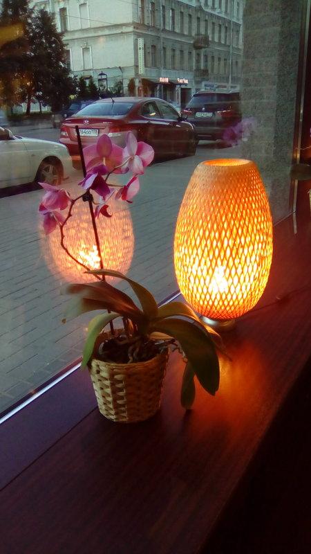 Интерьер ветрины кафе с вазой. - Светлана Калмыкова