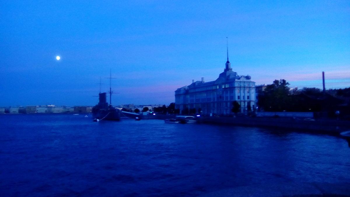 Лунный вечер над Невой. (Санкт-Петербург). - Светлана Калмыкова