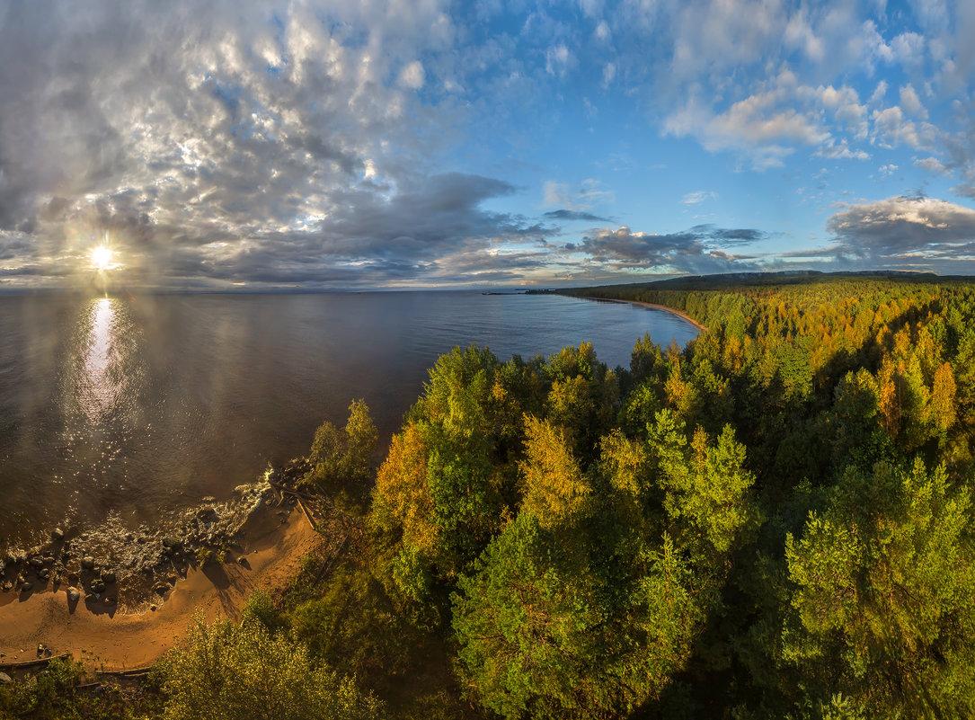 Вид с маяка на побережье Онежского озера. - Фёдор. Лашков