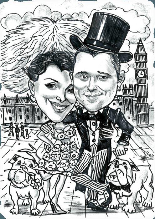 Черно-белый шарж на свадьбу - Павел