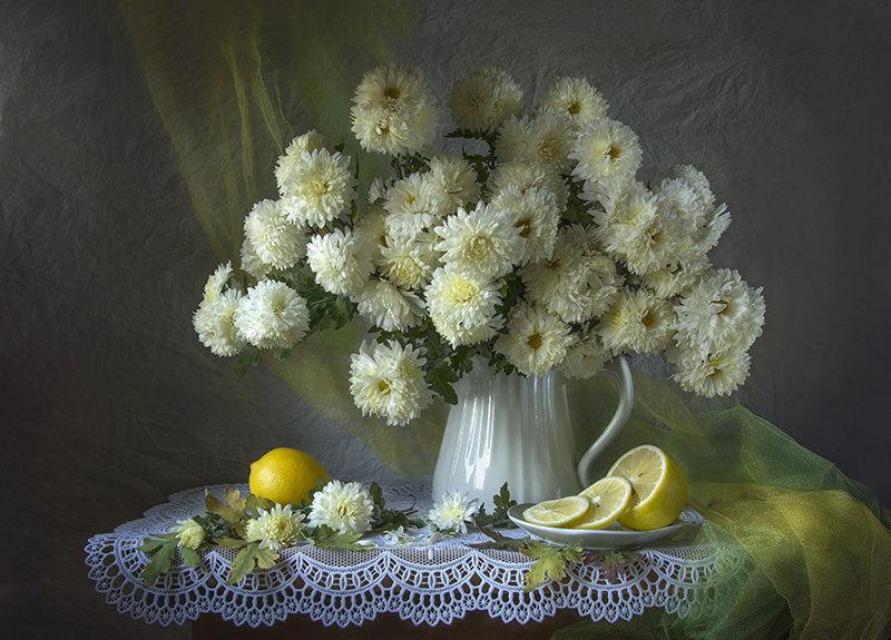 Хризантемы с лимонами. - Людмила Костюченко