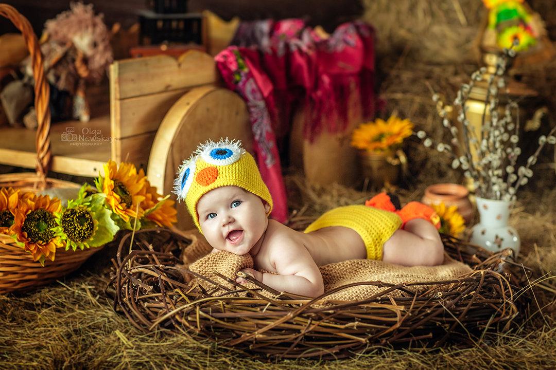 Малышка в гнездышке в костюмчике цыпленка - Ольга Невская