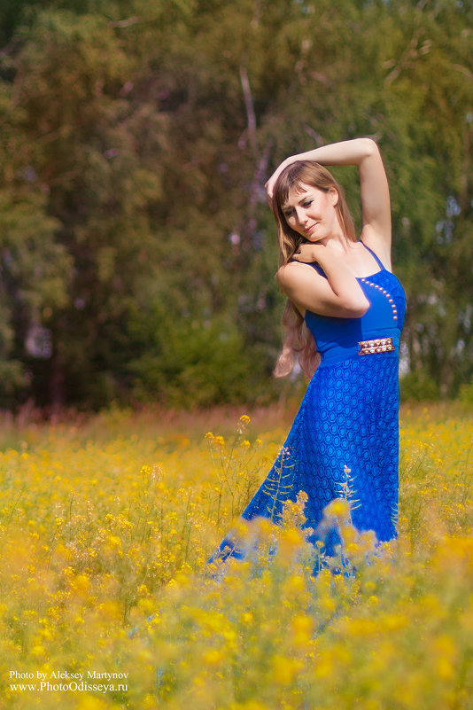 Лето. Девушка в синем. - Алексей Мартынов