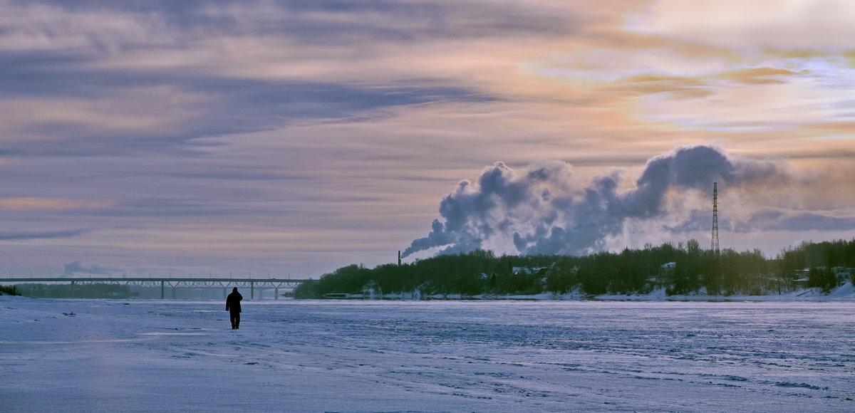 Морозный рассвет на  Волге - Николай Белавин
