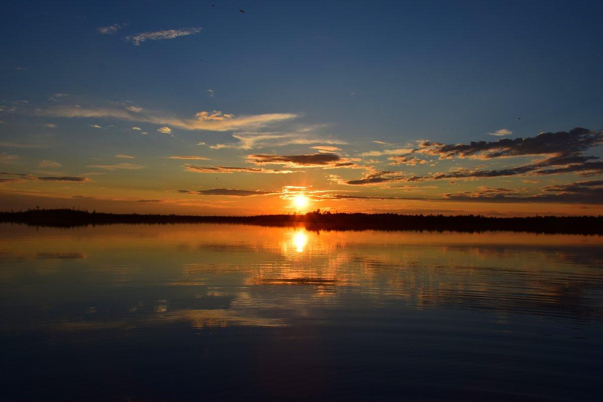 Закат на сибирском озере - Леонид Чащин