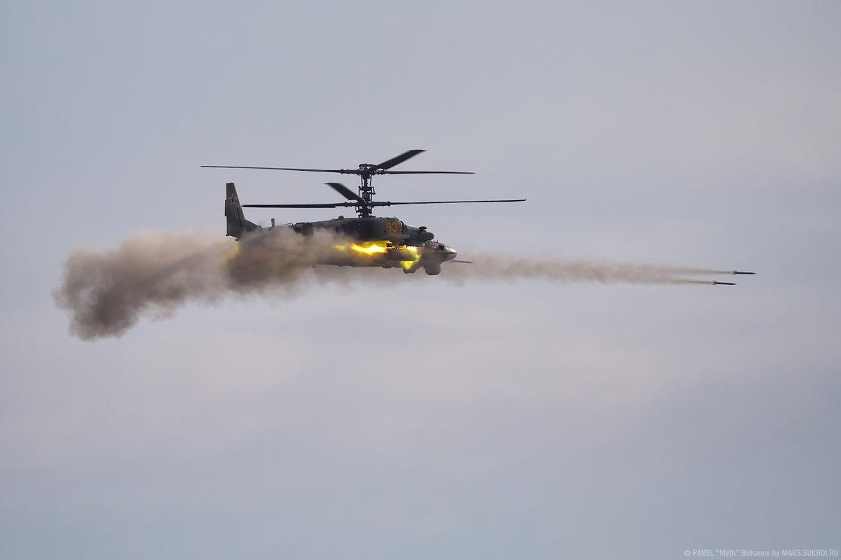 Ка-52, атака неуправляемыми реактивными снарядами. - Павел Myth Буканов