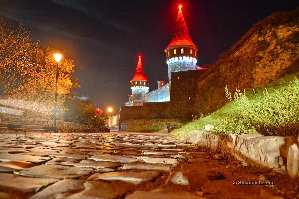Древняя брусчатка на фоне не менее древнего Каменец-Подольского замка - Леонид Школьный