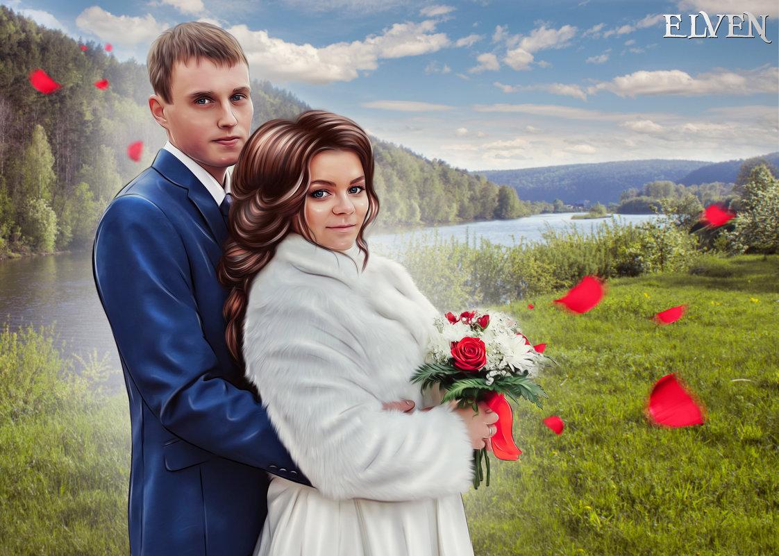 Свадебный портрет для печати на холсте - Дарья Суркина