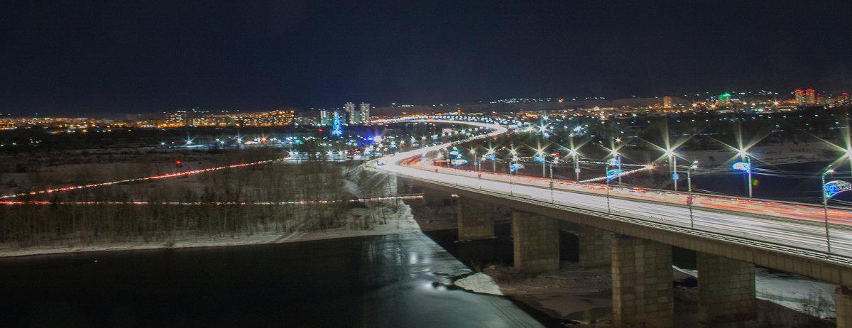 Вечерний Октябрьский мост с подсветкой - SmygliankA