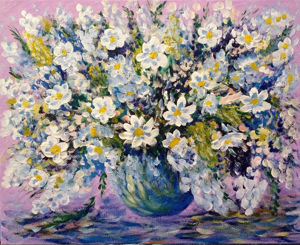 Цветы на сиреневом фоне - Анатолий Цыганок