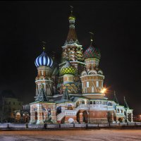 моя столица ночная Москва(храм Василия Блаженного на Красной площади) :: юрий макаров