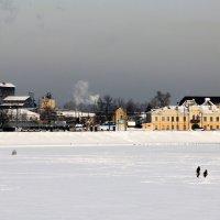 Отец с дочкой переходят Суру по льду. Пенза. 02.02.14 :: Alexandr Shemetov
