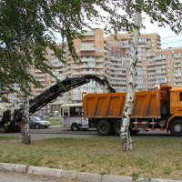 до чего дошел прогресс... уборка старого асфальта.... :: Наталья Меркулова