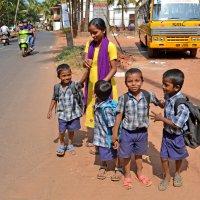 Индия. Калангут. Учительница ждет автобуса, чтобы посадить ребят :: Владимир Шибинский
