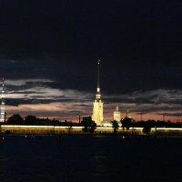 Ночь. Вид с Дворцовой набережной на Петропавловскую крепость :: Елена Каталина