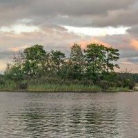 Островок на озере и облака, освещённые заходящим солнцем. :: Олег Попков