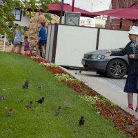 бабушка кормит птиц. :: Кристина Сурхаева