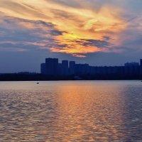 Закат на строгинский пойме. :: Людмила Быстрова