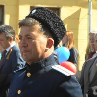 казачество и первые лица города на заднем плане :: Михаил Жуковский