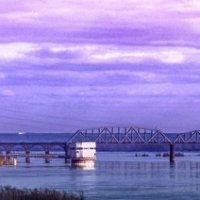 река-Обь, небо и ж.д. мост :: Виктор Штабкин