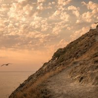 Горная тропинка, море, чайки, закат :: Алексей Яковлев