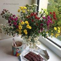 Хризантемы,  кофе,  шоколад… :: Anna Gornostayeva