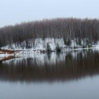 ещё не лёд ,а мокрый снег .Отражение. :: petyxov петухов