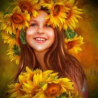 Девочка с букетом подсолнухов :: Лариса Соколова