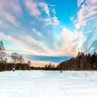 Закат над Ухтинскими полями :: Евгений Карелин