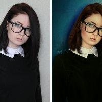 девушка в очках (до и после) :: Veronika G