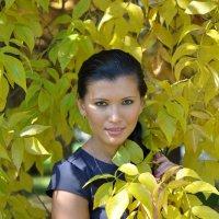 Портрет девушки на фоне осенней листвы освещенной солнцем :: Сергей Тагиров