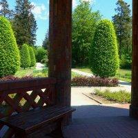 Деревянная скамейка в беседке :: Nina Yudicheva