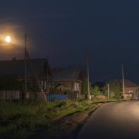 Деревня в ночи освещённая фарами автомобиля :: Владимир Максимов