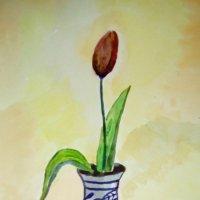 """Моя акварель. """"Одинокий тюльпан"""". (Санкт-Петербург) :: Светлана Калмыкова"""