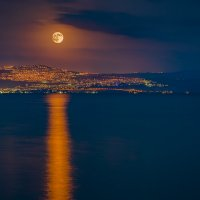 Закат Луны над Тверией. Израиль Кинерет. :: Максим Емельянов