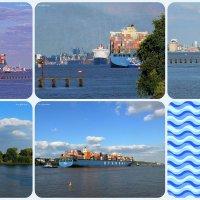 Контейнеровоз, буксиры и встреча с лайнером Queen Mary 2 :: Nina Yudicheva