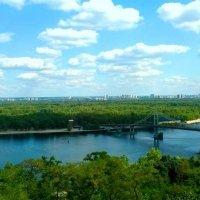 Пешеходный мост и вид на Труханов остров в Киеве :: Наталия Каминская