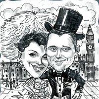 Черно-белый шарж на свадьбу :: Павел