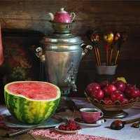 Деревенский натюрморт с арбузом и яблоками :: Ирина Лепнёва