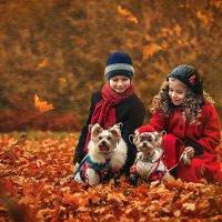 Осень. Дети на прогулке с собачками :: Татьяна Семёнова