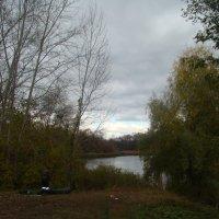 Рыбак на озере в пасмурную погоду :: марина ковшова