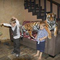 Фотошутка. День рождения с тигром. :: Владимир Безбородов