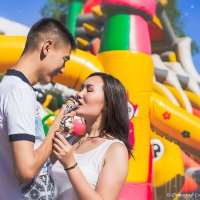 Красивая Love story Ании и Анарбека возле аттракционов! :: Елена Сметанина