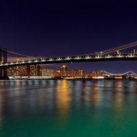 Panorama of Manhattan Bridge in New York City at night :: Valentyn Semenov