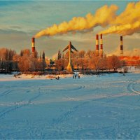 Яркий рассвет над зимним парком... :: Sergey Gordoff